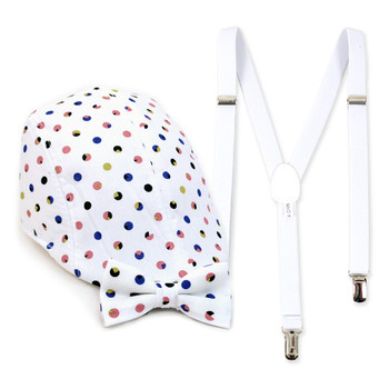 Boy's White Clip-on Suspender, Polka Dots  Ivy Hat & Matching Bow Tie Set