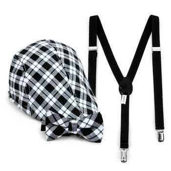 Boy's Black Clip-on Suspender, Plaid Ivy Hat & Matching Bow Tie Set (4-7 Years)