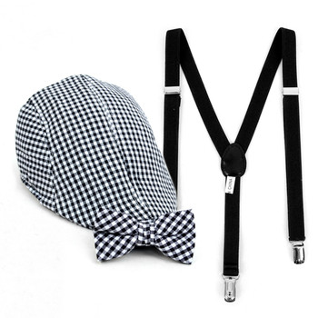 Boy's Black Clip-on Suspender, Checkered Ivy Hat & Matching Bow Tie Set (4-7 Years)