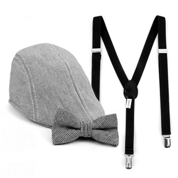 Boy's Black Clip-on Suspender, Houndstooth Ivy Hat & Matching Bow Tie Set (4-7 Years)