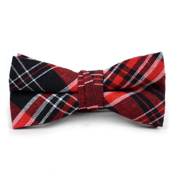 Boy's Red Clip-on Suspender, Plaid Ivy Hat & Matching Bow Tie Set