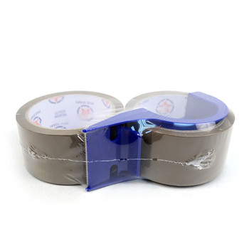 "2-Rolls Tan Packing Tape Commercial Grade-2"" Wide with Blue Dispenser -TPTT"