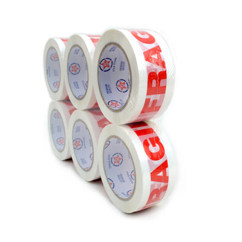 "6-Rolls Fragile Printing Packing Tape Commercial Grade-2"" Wide  -TPFC"