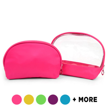 Ladies Clear & Solid Color Make Up Pouch 2pc Set Cosmetic & Toiletry Bags  LNCTB1701