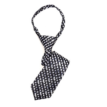 "Boy's Black  Geometric Zipper Tie 11"" - MPWZ11-BK4"