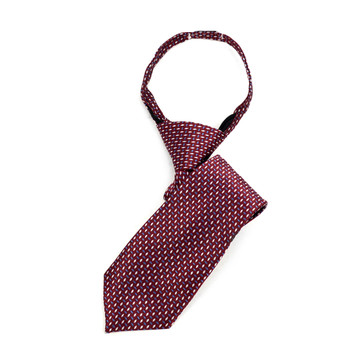 "Boy's Burgundy Dots Zipper Tie 11"" - MPWZ11-BUR1"