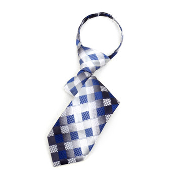 "Boy's Gray Blue Plaid Zipper Tie 11"" - MPWZ11-GRY2"