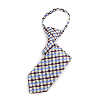 "Boy's Khaki Plaid Zipper Tie 11"" - MPWZ11-KHAKI3"