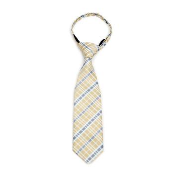 """Boy's Khaki Plaid Zipper Tie 11"""" - MPWZ11-KHAKI1"""