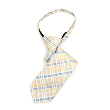 "Boy's Khaki Plaid Zipper Tie 11"" - MPWZ11-KHAKI1"
