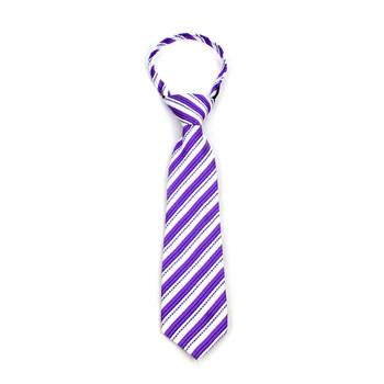 "Boy's Lavender Striped Zipper Tie 11"" - MPWZ11-LAV1"