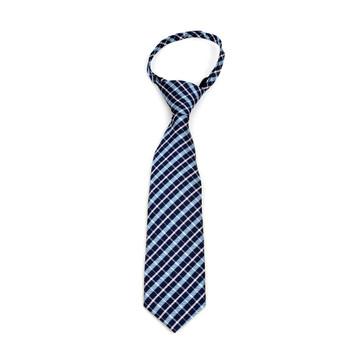 """Boy's Navy Plaid Zipper Tie 11"""" - MPWZ11-NBL1"""