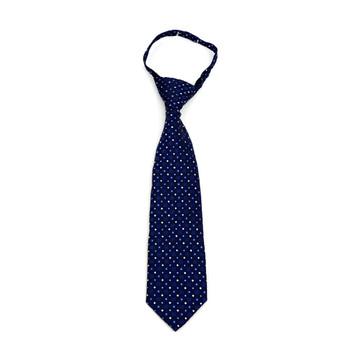 "Boy's Navy Dots Zipper Tie 11"" - MPWZ11-NBL2"