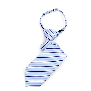 "Boy's Navy & Light Blue Striped Zipper Tie 11"" - MPWZ11-NBL3"