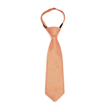 "Boy's Peach Dots Zipper Tie 11"" - MPWZ11-PH1"