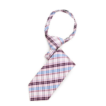 "Boy's Pink Plaid  Zipper Tie 11"" - MPWZ11-PK1"