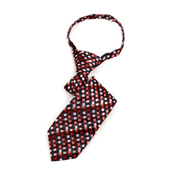 "Boy's Burgundy Geometric  Zipper Tie 11"" - MPWZ11-PUR2"