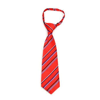 "Boy's Red Striped Zipper Tie 11"" - MPWZ11-RD2"