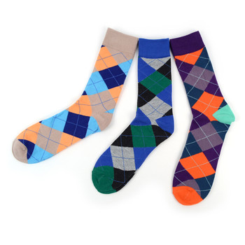 Assorted Pack (3 Pairs) Men's Argyle Casual Fancy Crew Socks 3PKS-S/S-7