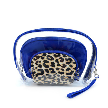 Ladies Clear & Leopard Pattern Make Up Pouch 3pc Set Cosmetic & Toiletry Bags  LNCTB1702-Leopard