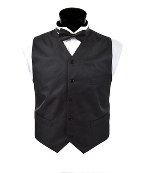 Men's Black Poly Twill Vest MWV3301
