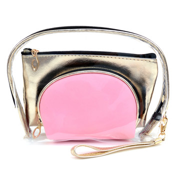 Ladies Clear & Gold Color Make Up Pouch 3pc Set Cosmetic & Toiletry Bags  LNCTB1703