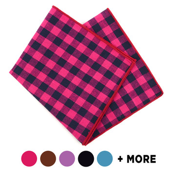 12pc Classic Plaid 100% Cotton Checked Pocket Square Handkerchiefs - CH17-CK