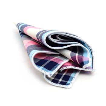 12pc Pastel Color 100% Cotton Plaid Pocket Square Handkerchiefs - CH1712