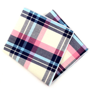 12pc Pastel Color 100% Cotton Plaid Pocket Square Handkerchiefs - CH1712