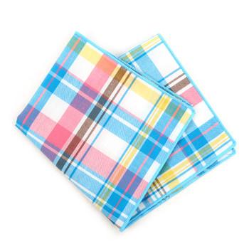 12pc Cotton Plaid Pocket Square Handkerchiefs - CH1715