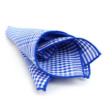 12pc Blue & White 100% Cotton Checkered Plaid Pocket Square Handkerchiefs - CH1716