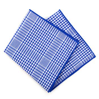 12pc Cotton Check Pocket Square Handkerchiefs - CH1716