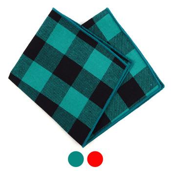 12pc Classic 100% Cotton Plaid Checkered Pocket Square Handkerchiefs - CH1718/30