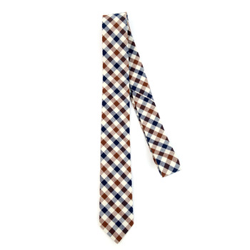 "Men's Brown Plaid 2.25"" Cotton Slim Tie - MPPW1710"