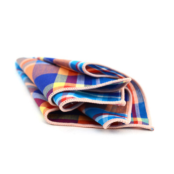 12pc Cotton Plaid Pocket Square Handkerchiefs - CH1719