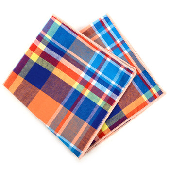 12pc Vivid Color 100% Cotton Plaid Pocket Square Handkerchiefs - CH1719