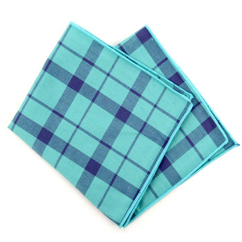 12pc Mint Green 100% Cotton Plaid Pocket Square Handkerchiefs - CH1720