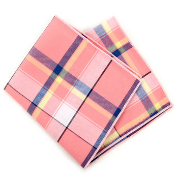 12pc Cotton Plaid Pocket Square Handkerchiefs - CH1722