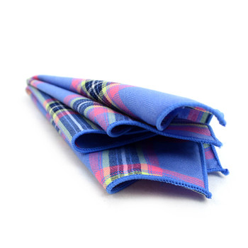 12pc Periwinkle Color 100% Cotton Plaid Pocket Square Handkerchiefs - CH1724