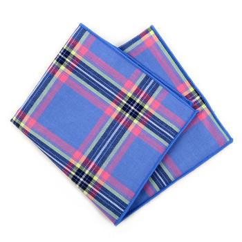 12pc Cotton Plaid Pocket Square Handkerchiefs - CH1724