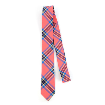 "Men's Hot Pink Plaid 2.25"" Cotton Slim Tie - MPPW1714"