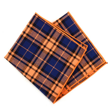 12pc Orange & Navy 100% Cotton Plaid Pocket Square Handkerchiefs - CH1725