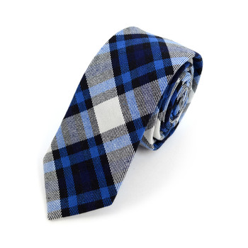 "Men's Navy Blue Plaid Flannel  2.25"" Cotton Slim Tie - MPPW1715"