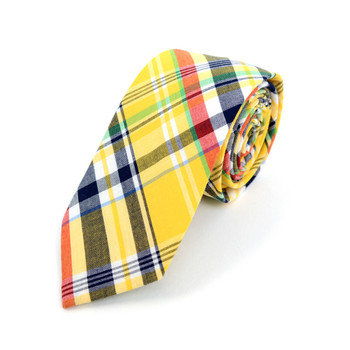 "Men's Yellow Plaid 2.25"" Cotton Slim Tie - MPPW1716"