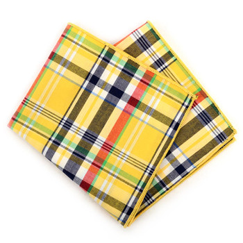 12pc Yellow 100% Cotton Plaid Pocket Square Handkerchiefs - CH1731
