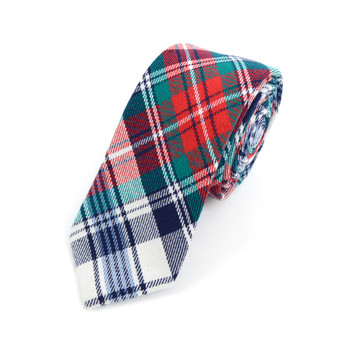 "Men's Red Plaid Flannel 2.25"" Cotton Slim Tie - MPPW1717"