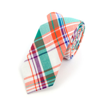 "Men's Orange Green Plaid 2.25"" Cotton Slim Tie - MPPW1718"