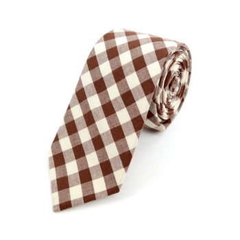 "Men's Brown Beige Plaid 2.25"" Cotton Slim Tie - MPPW1719"