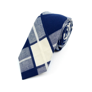 "Men's Navy Plaid 2.25"" Cotton Slim Tie - MPPW1720"