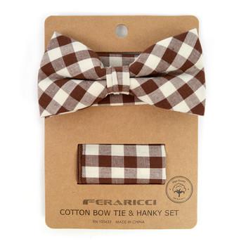 Men's Brown Beige Plaid Cotton Bow Tie & Matching Pocket Square - CBTH1717